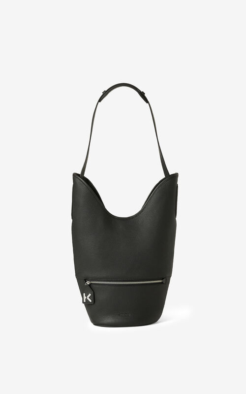 BLACK KENZO Onda leather bucket bag for men