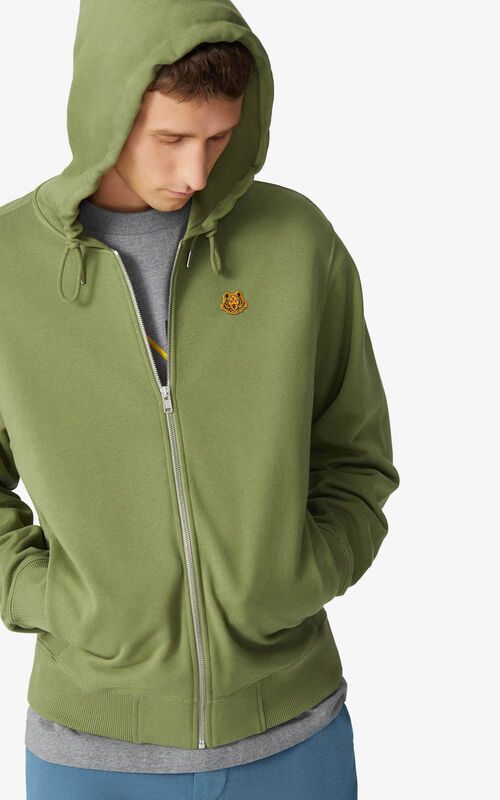 OLIVE Tiger Crest hooded sweatshirt for men KENZO