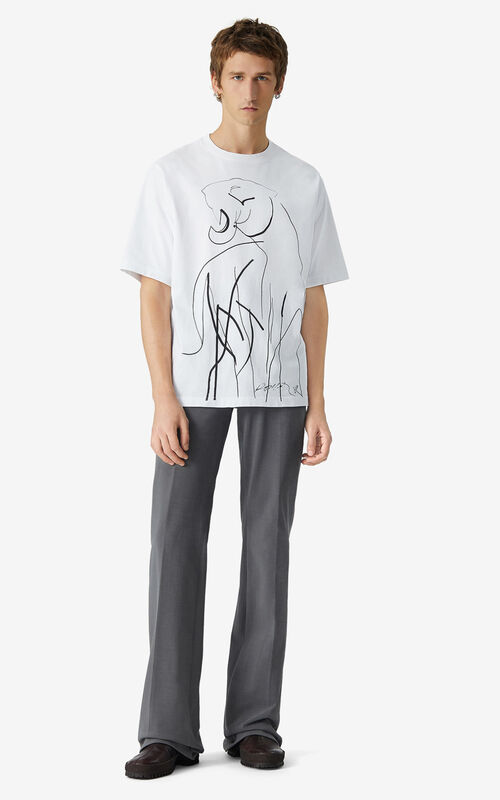 WHITE T-shirt with Júlio Pomar illustration for men KENZO