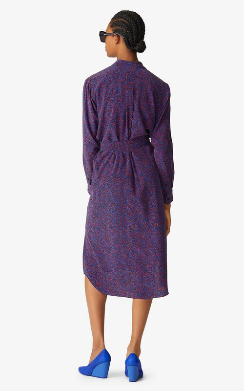 NAVY BLUE Micro Camo' silk shirt dress for women KENZO