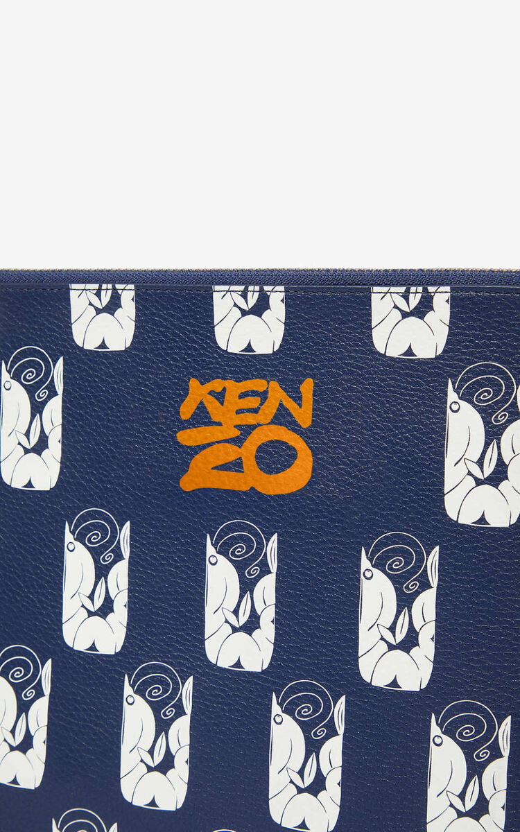NAVY BLUE 'Shrimps' A4 clutch for unisex KENZO