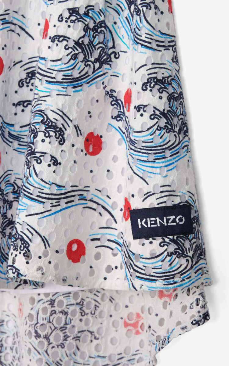 OFF WHITE Gathered skirt in English embroidery for unisex KENZO