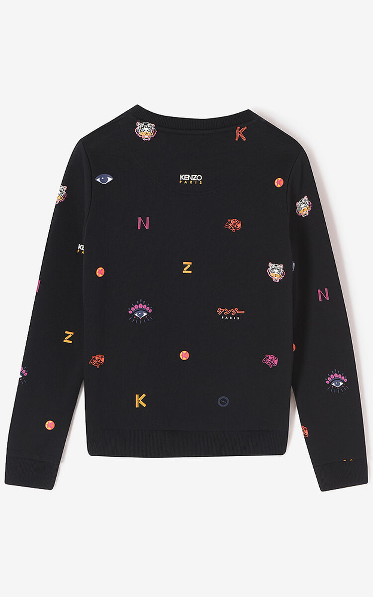 BLACK Multi Icons sweatshirt for women KENZO