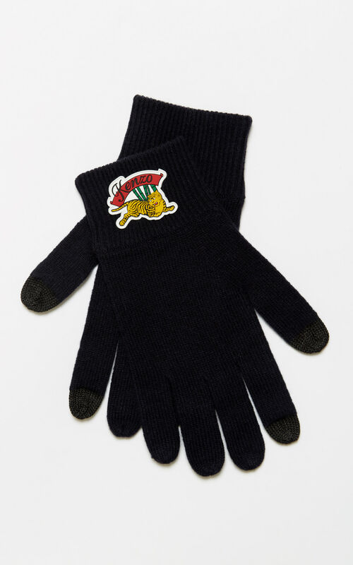BLACK 'Jumping Tiger' wool gloves for unisex KENZO
