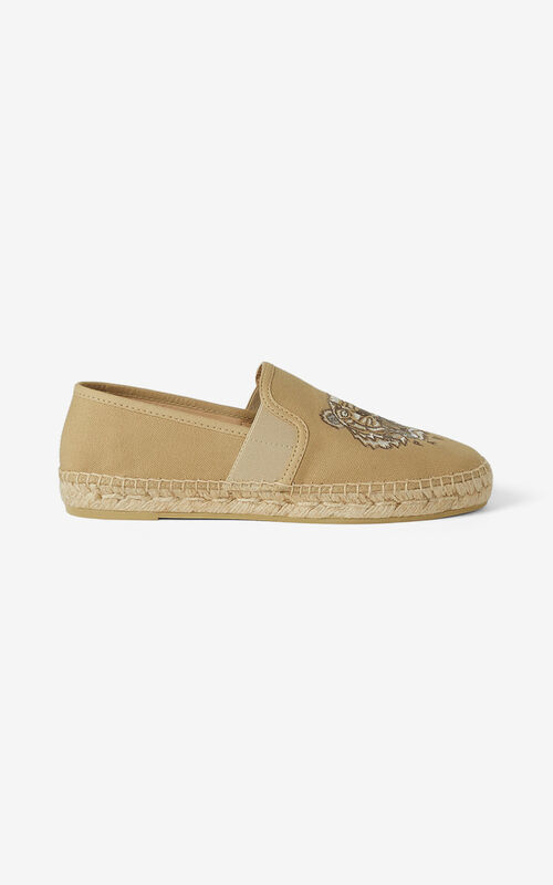 BEIGE Tiger elasticated canvas espadrilles for women KENZO