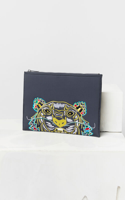 ANTHRACITE 'Dragon Tiger' A4 neoprene clutch for unisex KENZO