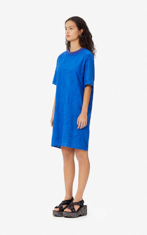 SLATE BLUE 'Flying Phoenix' t-shirt dress for women KENZO
