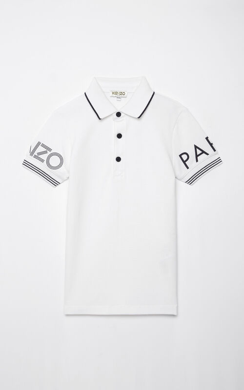 WHITE KENZO logo polo shirt for men