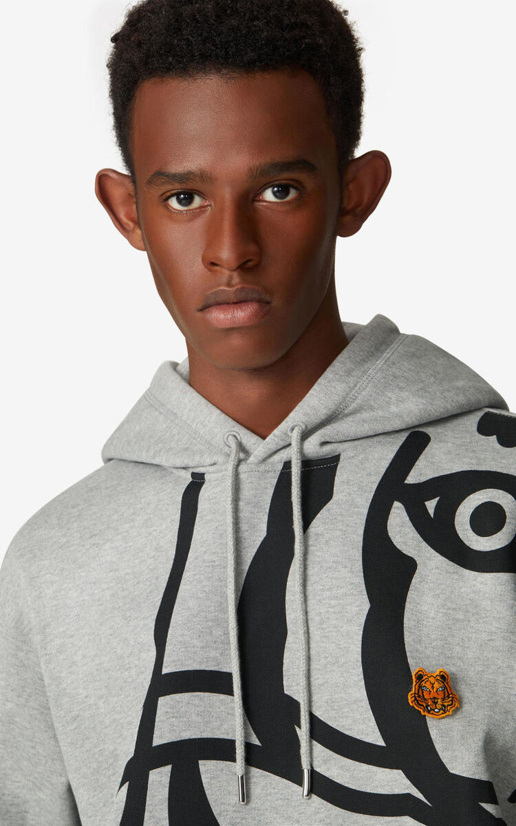 PEARL GREY K-Tiger hooded sweatshirt for men KENZO
