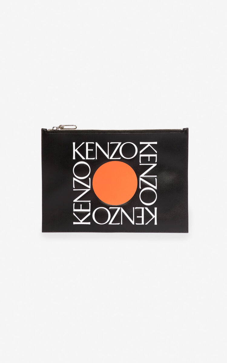 BLACK A4 'Square Logo' leather clutch for men KENZO