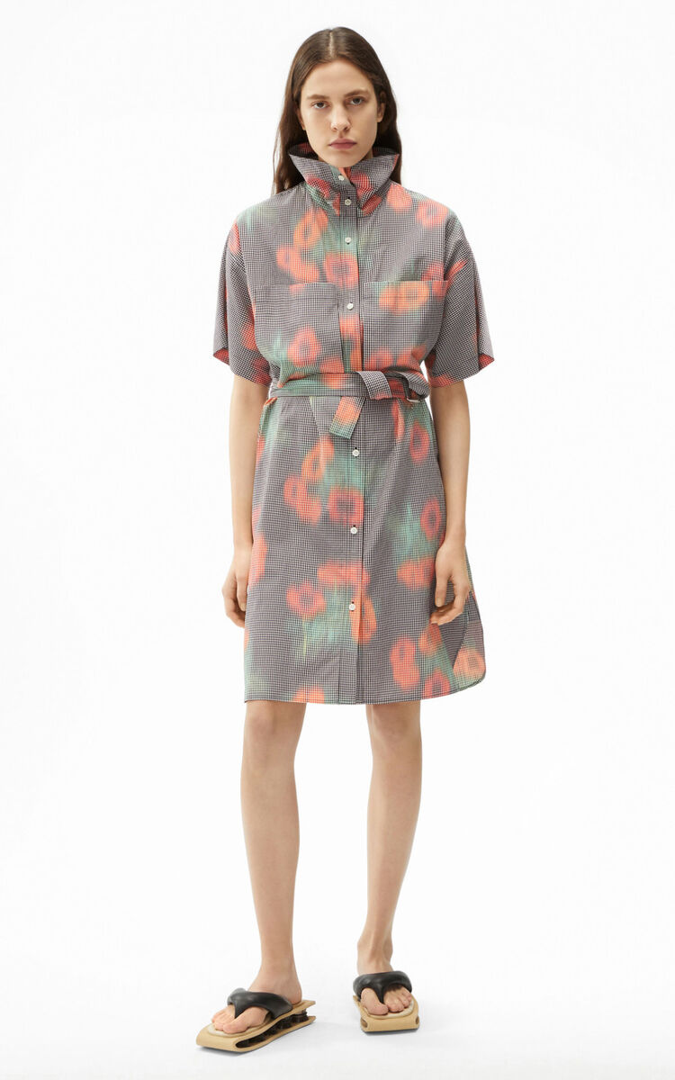 "CHERRY Belted tunic dress 'Coquelicot"" for women KENZO"