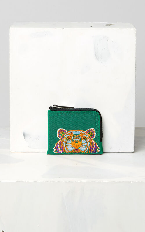 GRASS GREEN Zipped Tiger purse for men KENZO
