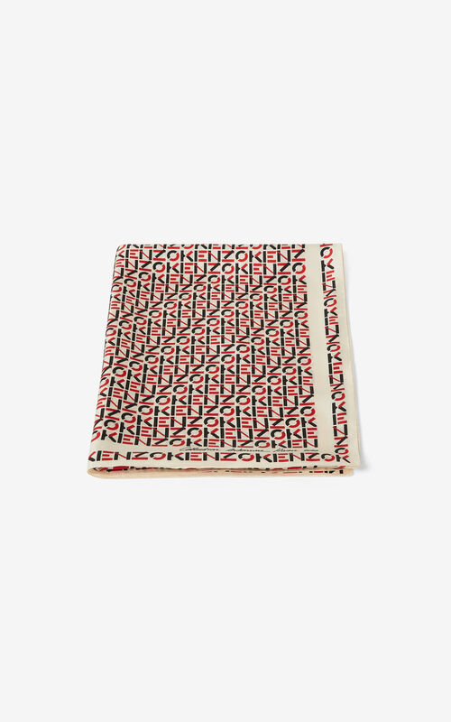 OFF WHITE Monogrammed silk stole for unisex KENZO