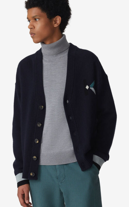 NAVY BLUE K Logo cardigan for men KENZO