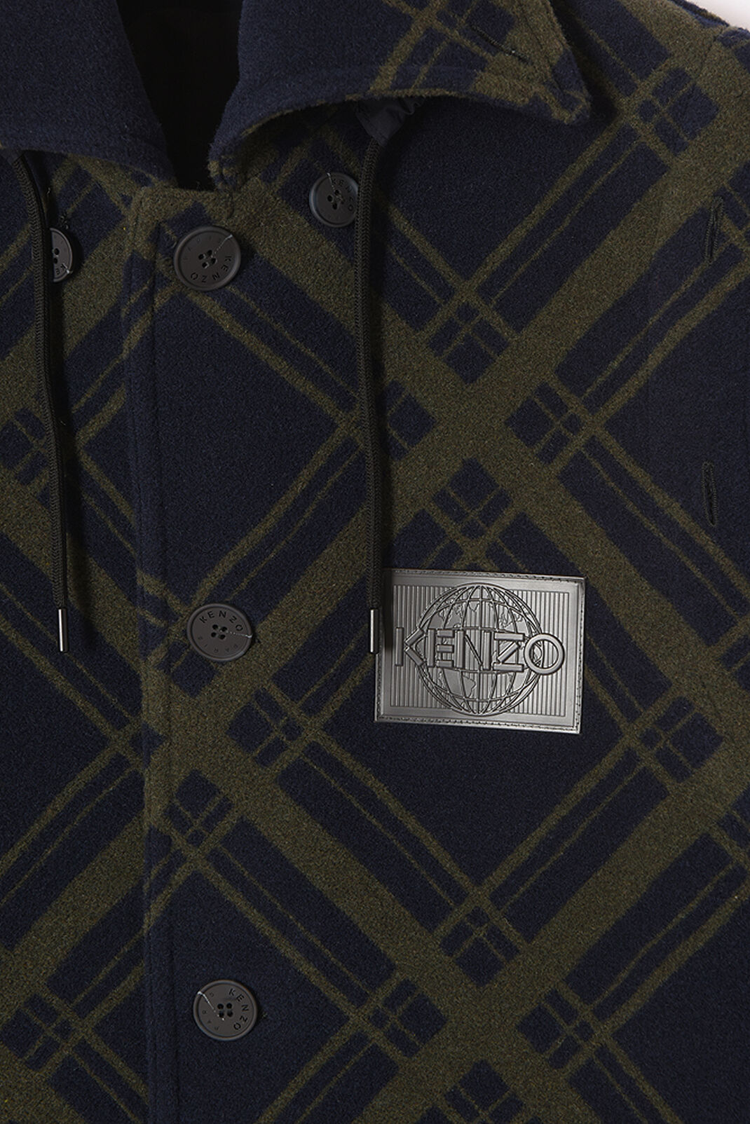 "NAVY BLUE ""Frame Check"" wool jacquard coat for men KENZO"