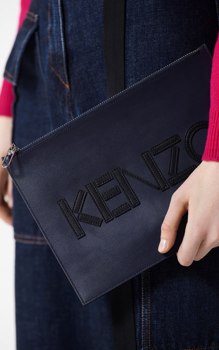 NAVY BLUE A4 KENZO Colorblock leather clutch for women
