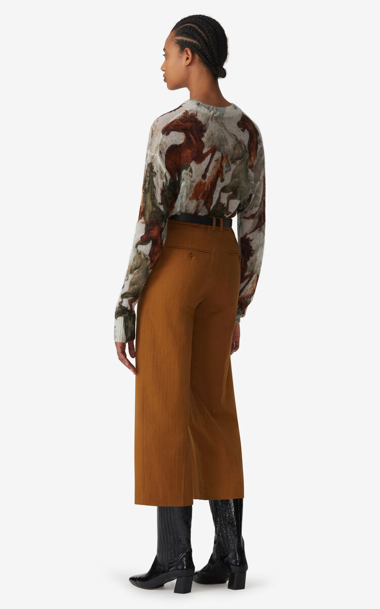 DARK CAMEL Cropped trousers for women KENZO