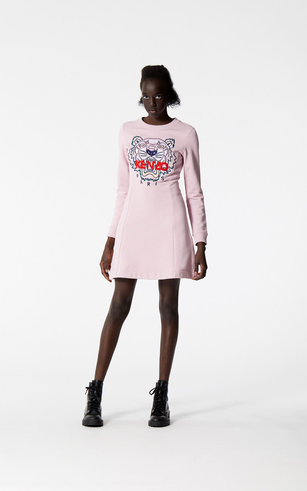 PASTEL PINK Tiger sweatshirt dress for women KENZO