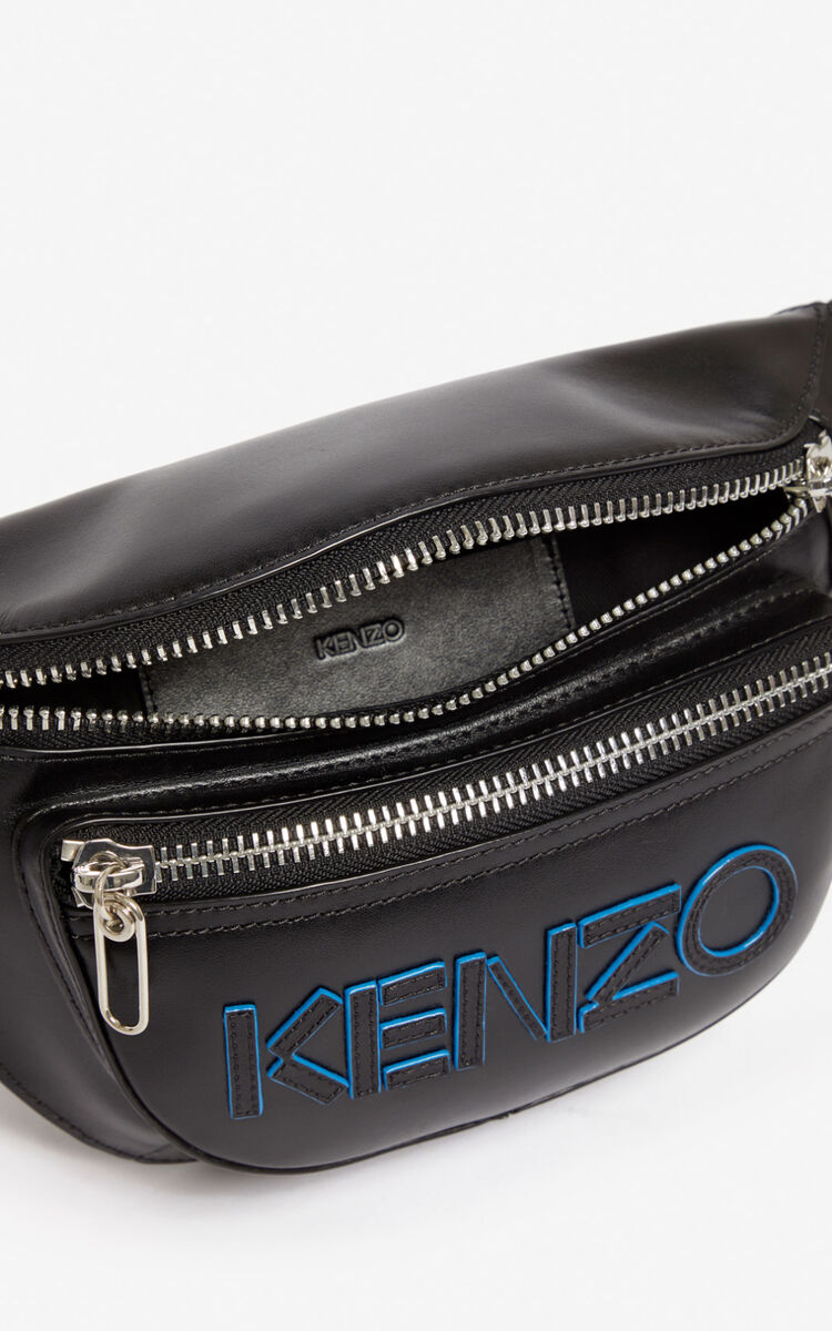 BLACK KENZO logo leather belt bag for unisex