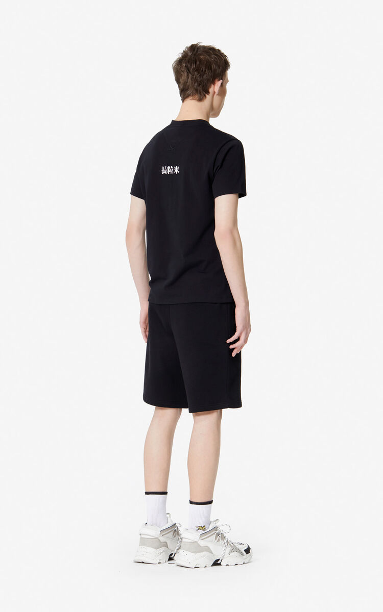 BLACK 'Bamboo Rice' T-shirt for men KENZO