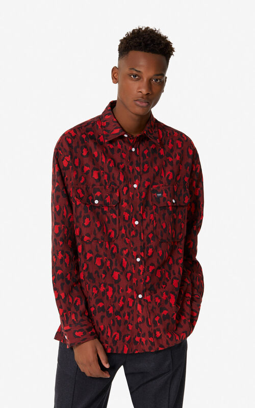 MEDIUM RED 'Leopard' overshirt for men KENZO