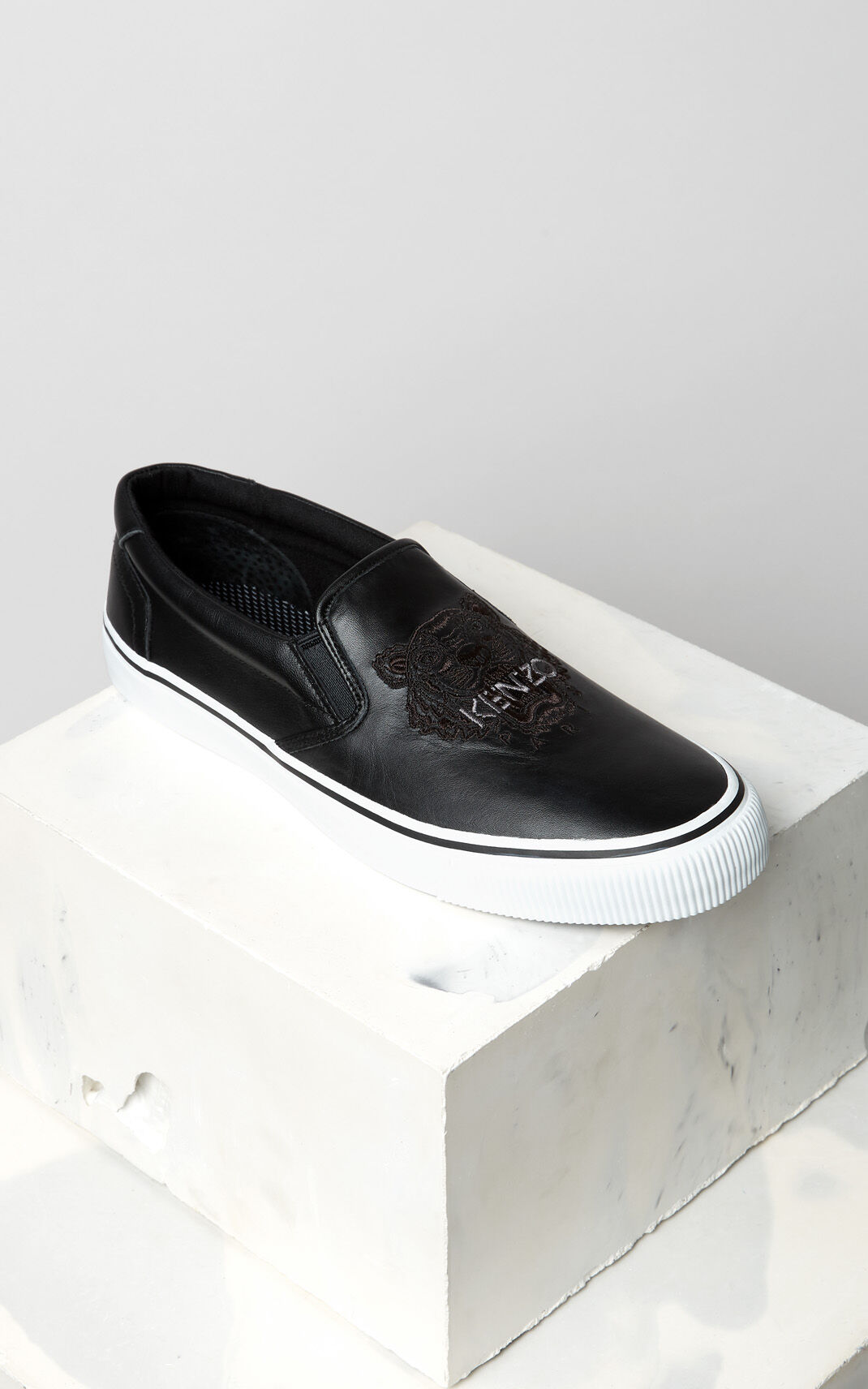 BLACK Tiger leather slip-on for men KENZO