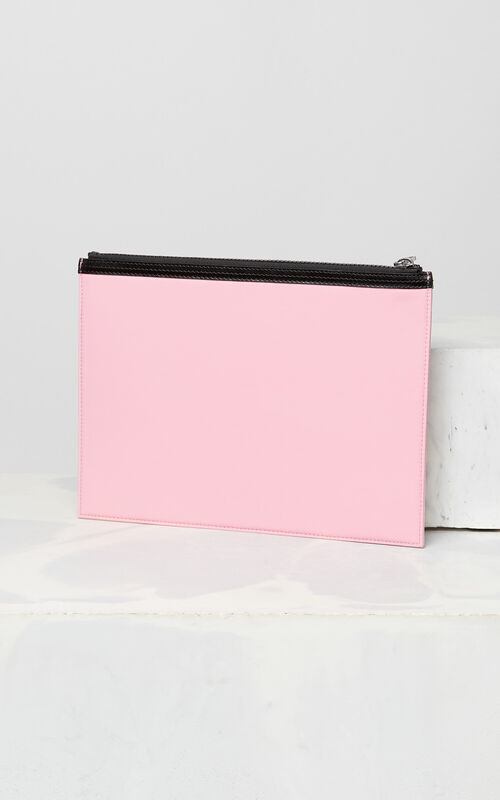FLAMINGO PINK A4 KENZO Logo clutch for men