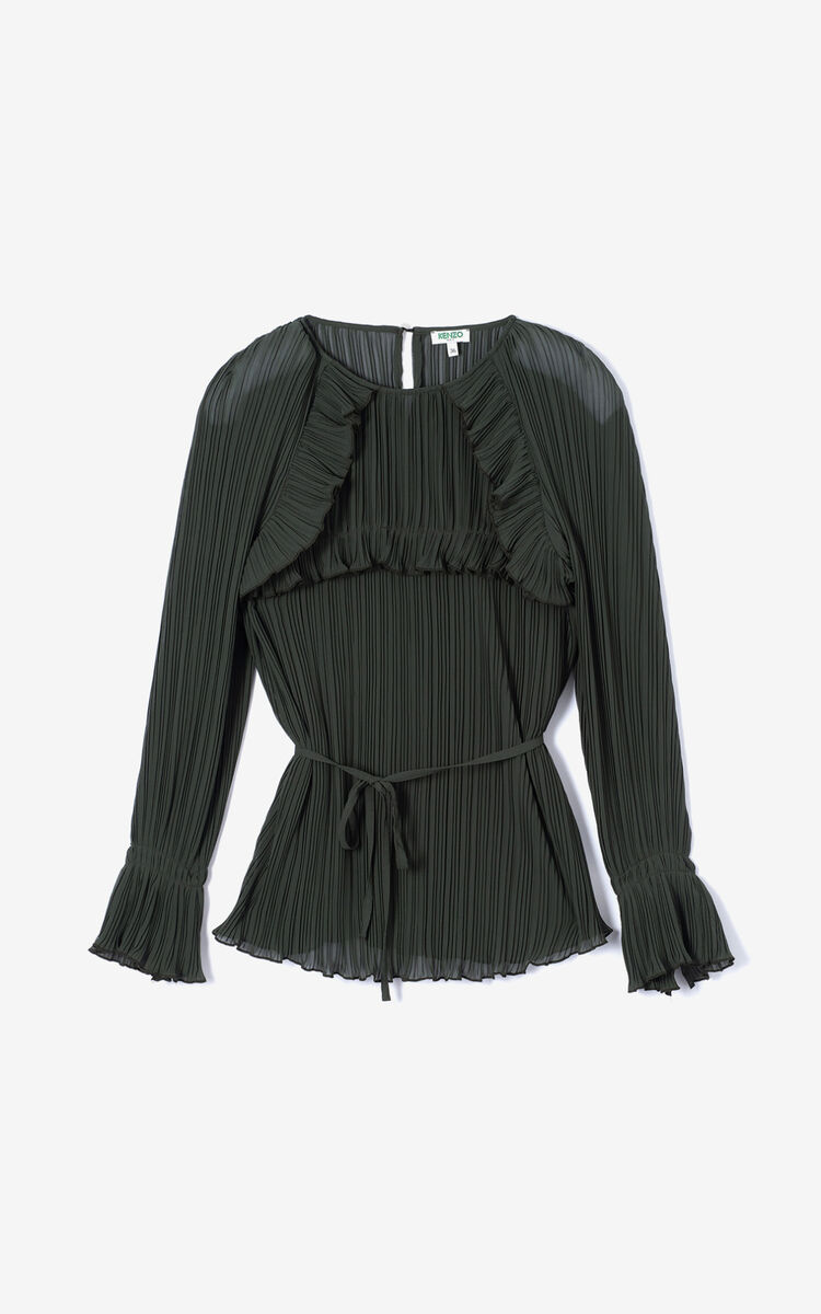 DARK KHAKI Pleated top for women KENZO