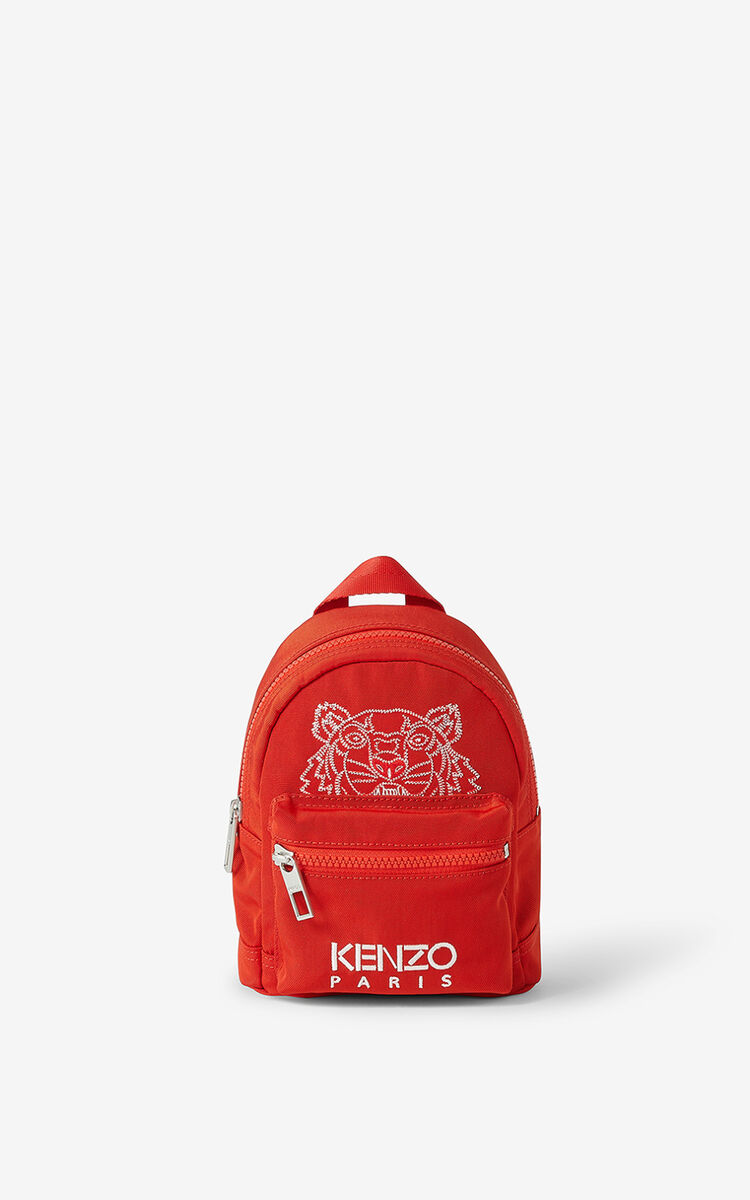 MEDIUM RED Kampus Tiger canvas mini backpack for unisex KENZO