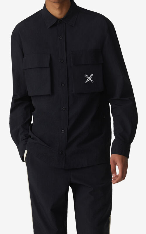 BLACK KENZO Sport 'Little X' overshirt  for men