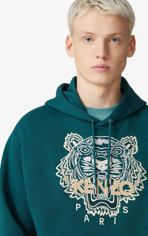 DUCK BLUE Tiger hooded sweatshirt for men KENZO