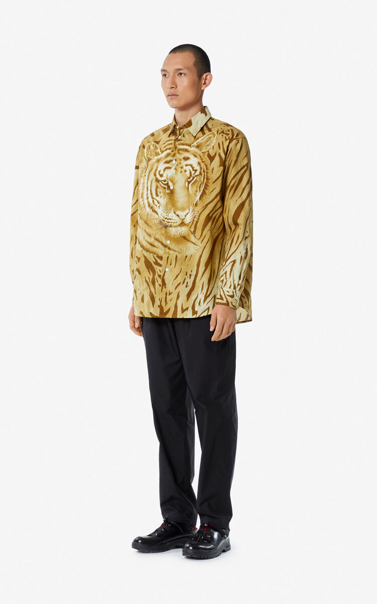 DARK CAMEL 'Vintage Tiger' shirt for men KENZO