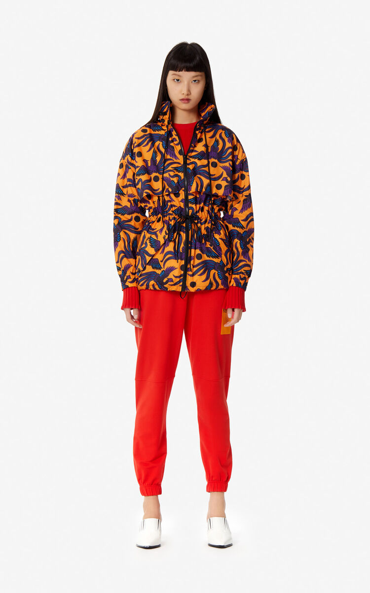 MEDIUM ORANGE 'Flying Phoenix' KENZO logo windbreaker for women
