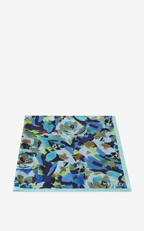 GRASS GREEN 'Archive Floral' silk square for unisex KENZO