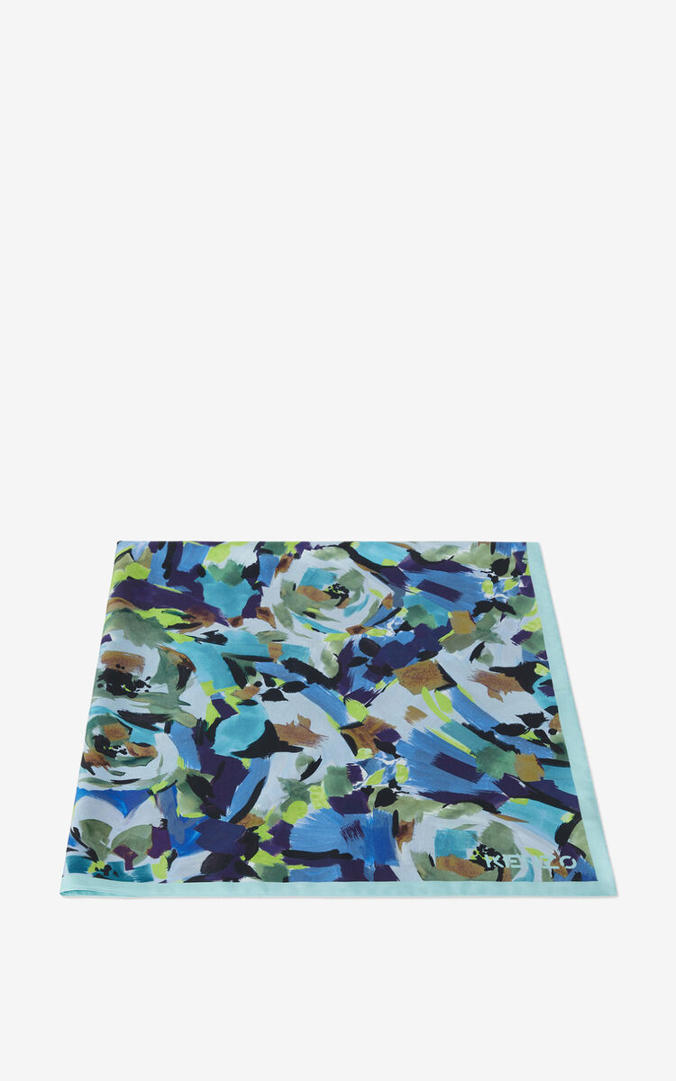 GRASS GREEN 'Archive Floral' silk square for women KENZO