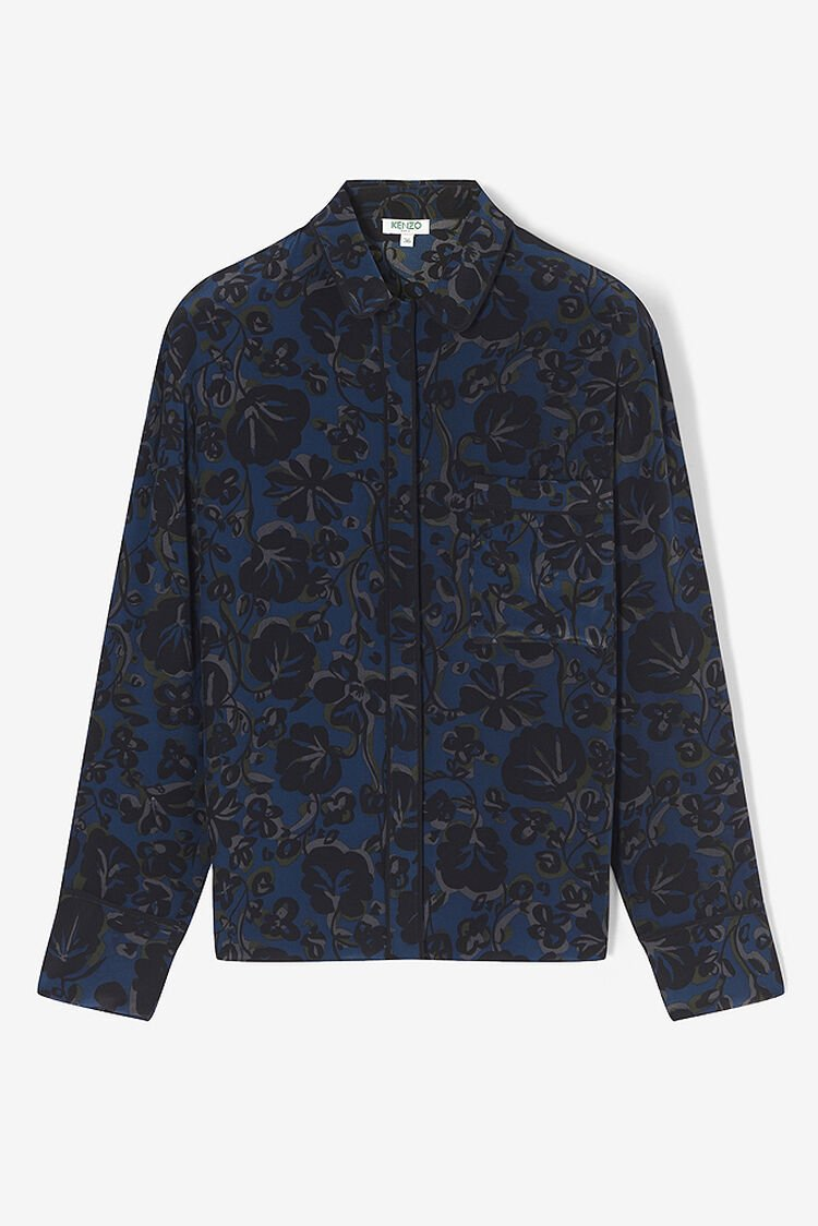 DEEP SEA BLUE 'Floral Leaf' Shirt for women KENZO