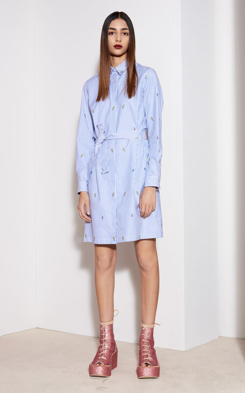 Cotton Shirt Dress, PERRIWINKLE, KENZO