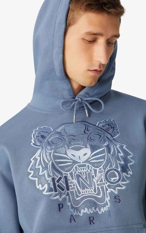 BLUE Tiger hoodie sweatshirt for men KENZO