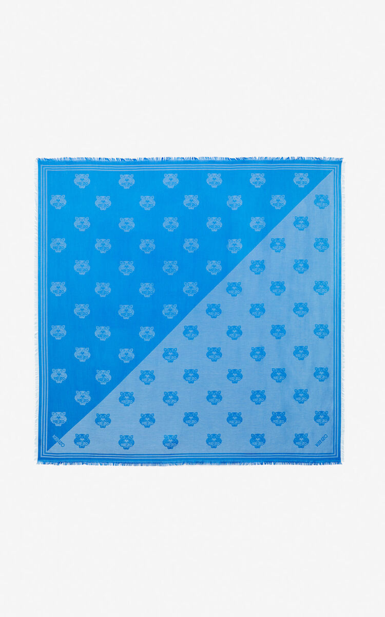 COBALT Large two-tone Tiger scarf for unisex KENZO