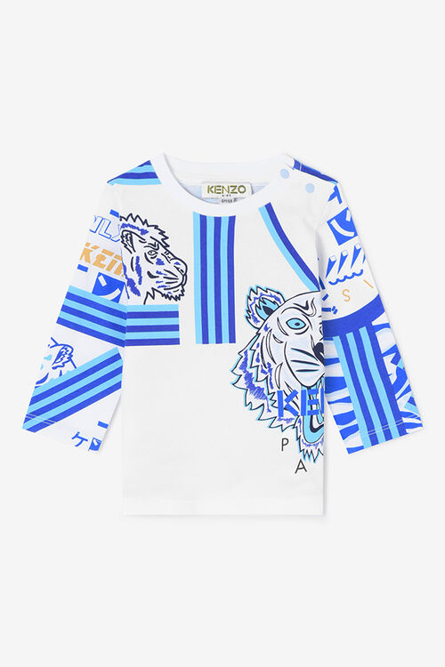 WHITE Tiger Friends Long T-shirt for men KENZO