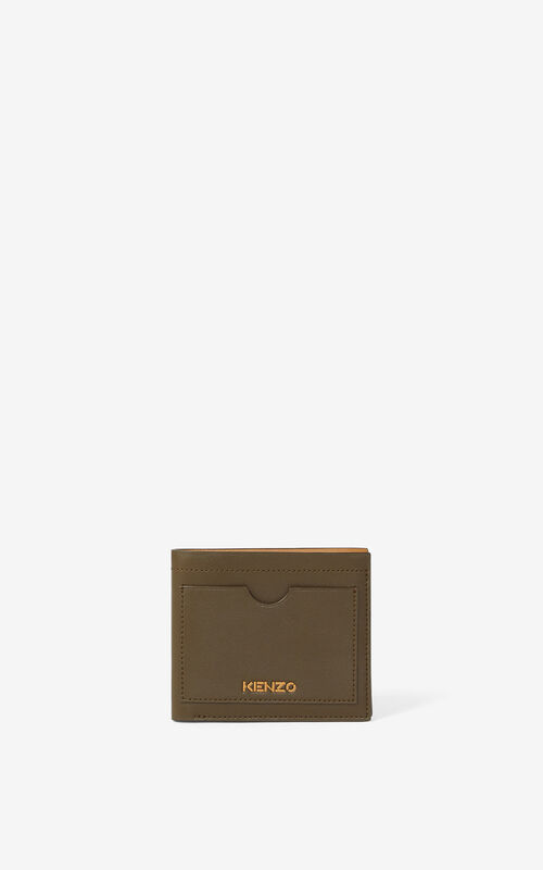 KHAKI KENZO Cadet small leather wallet for unisex