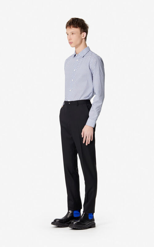 WHITE Slim fit 'Tiger Monograme' shirt for men KENZO