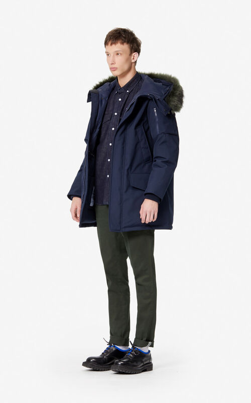NAVY BLUE Long hooded parka for men KENZO