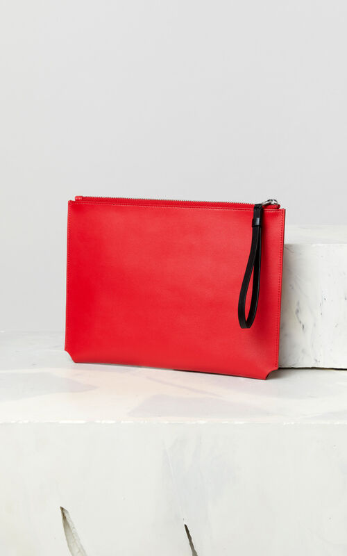 MEDIUM RED A4 'Jumping Tiger' leather clutch for unisex KENZO