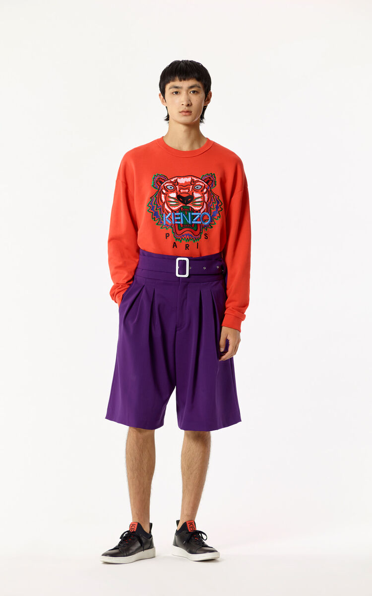 BRIGHT PURPLE High-waisted shorts for men KENZO