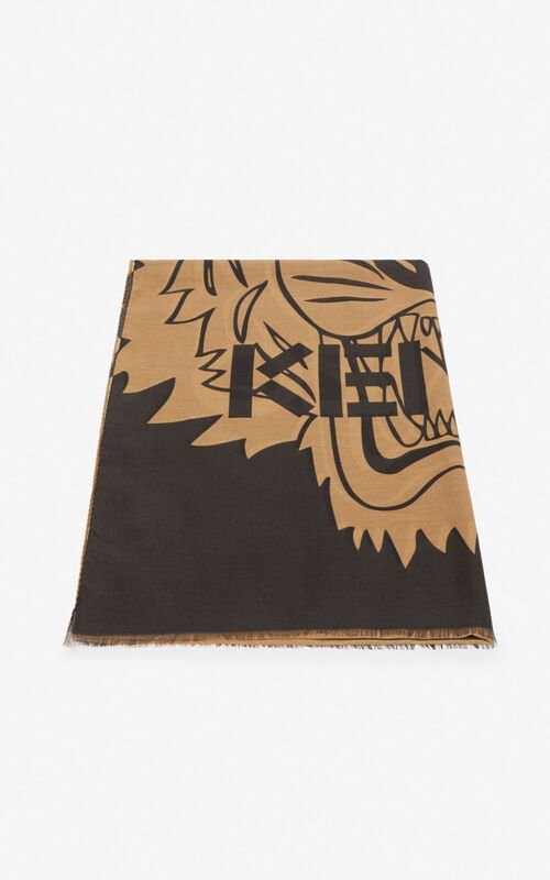 PALE CAMEL Tiger scarf for unisex KENZO