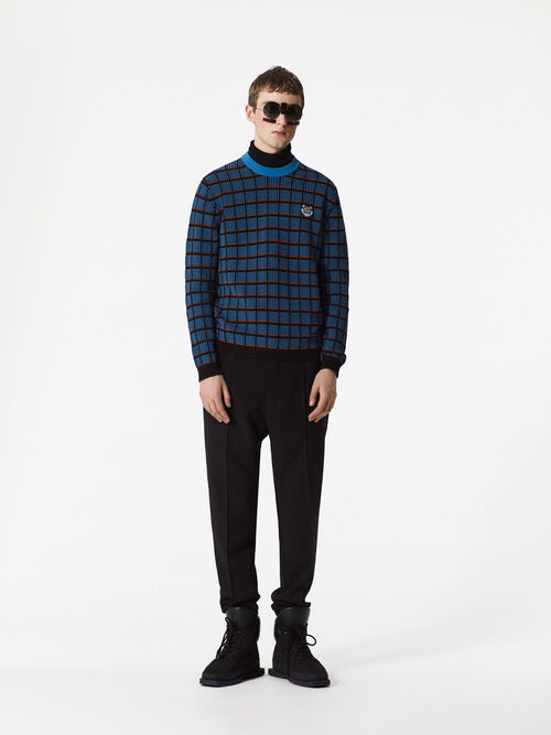 DUCK BLUE Check Tiger Crest Sweater for men KENZO