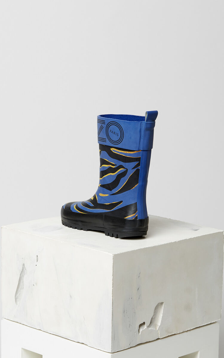 ROYAL BLUE 'Tiger Stripes' Rain Boots for women KENZO