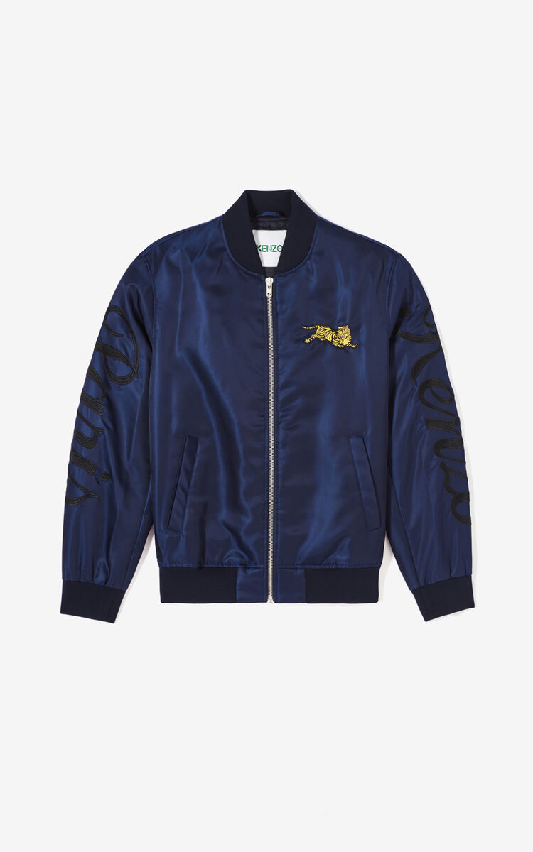 NAVY BLUE 'Jumping Tiger' letter jacket for women KENZO