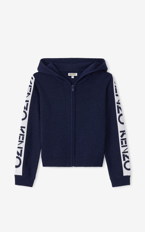 NAVY BLUE KENZO Sport hooded zip-up gilet for women